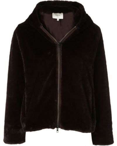 Прямая плюшевая коричневая длинная куртка Vince
