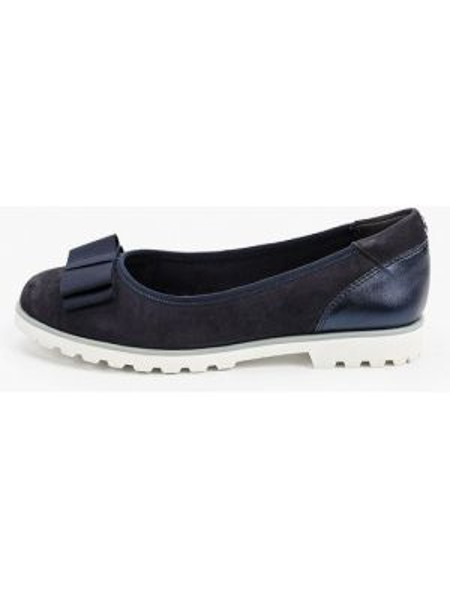 Синие велюровые кожаные туфли закрытые Tamaris