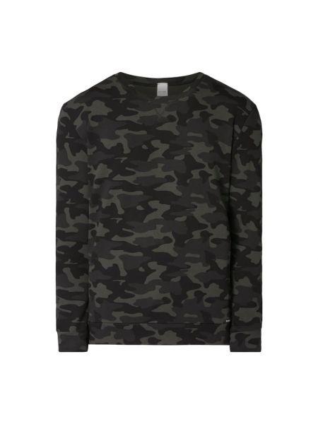 Czarna piżama bawełniana z długimi rękawami Skiny