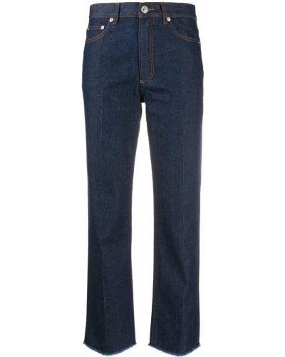 Хлопковые синие укороченные джинсы с карманами свободного кроя A.p.c.