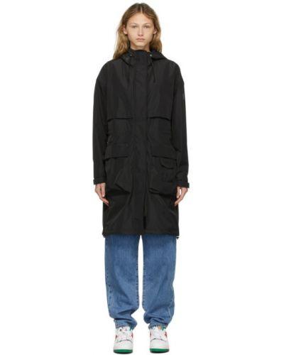 Кожаное черное длинное пальто с капюшоном Mackage