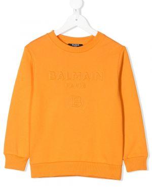 Оранжевый свитшот Balmain Kids