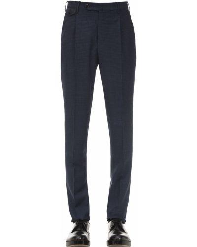 Niebieskie spodnie wełniane z paskiem Pantaloni Torino