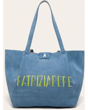Skórzana torebka na zakupy z uchwytem Patrizia Pepe