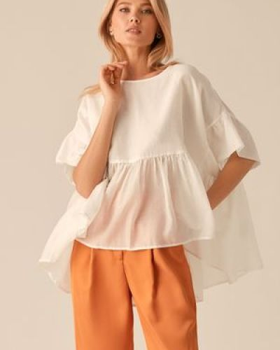 Шелковая белая блузка с оборками Love Republic