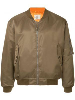 Zielona długa kurtka z nylonu z długimi rękawami Kent & Curwen