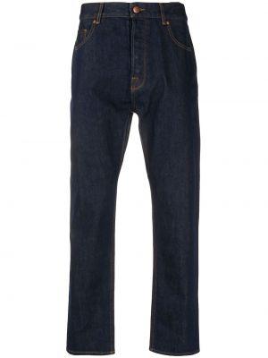 Niebieski bawełna klasyczny jeansy z kieszeniami z łatami Emporio Armani