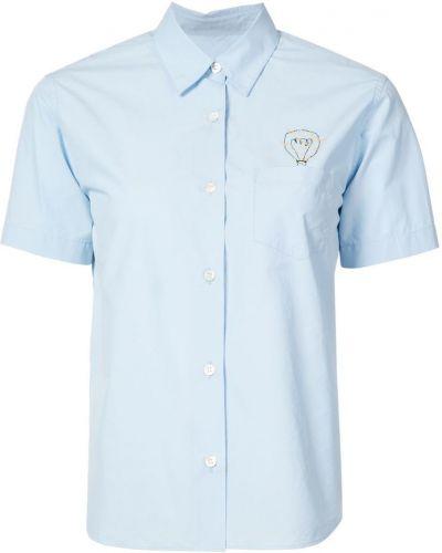 Синяя рубашка с коротким рукавом с вышивкой с лебяжьим пухом Jimi Roos