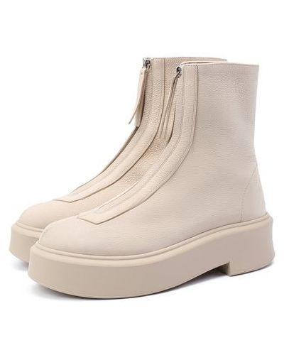 Бежевые кожаные ботинки с подкладкой The Row