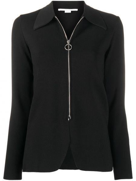 Черная куртка на молнии с воротником узкого кроя Stella Mccartney