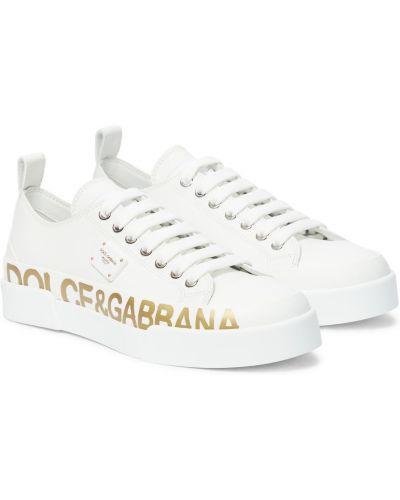 Кожаные белые кроссовки Dolce & Gabbana
