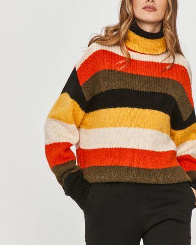 Pomarańczowy sweter z akrylu z długimi rękawami Answear Lab
