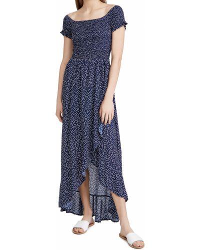 Синее платье в горошек с декольте Tiare Hawaii