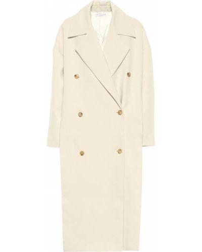 Ватное белое пальто двубортное Co