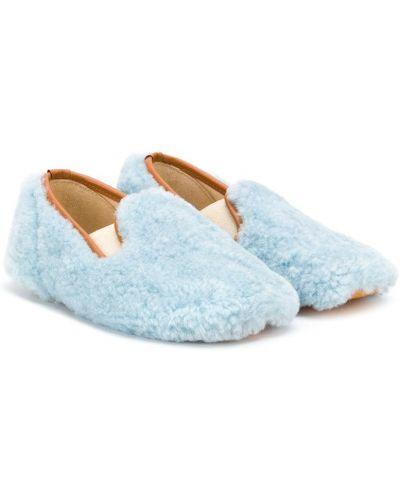 Синие кожаные балетки эластичные Gallucci Kids