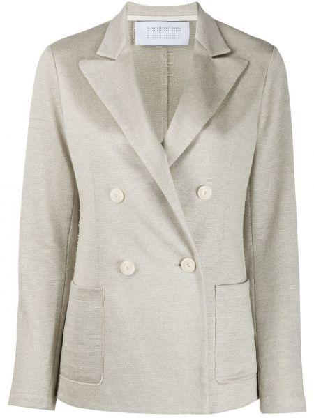 Бежевый пиджак с карманами с лацканами с длинными рукавами Harris Wharf London