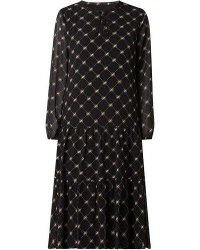 Czarna sukienka midi rozkloszowana z falbanami Comma