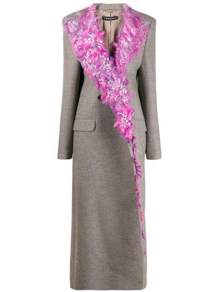 Приталенное серое кашемировое длинное пальто Y/project