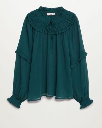Zielona bluzka z długimi rękawami z falbanami Mango
