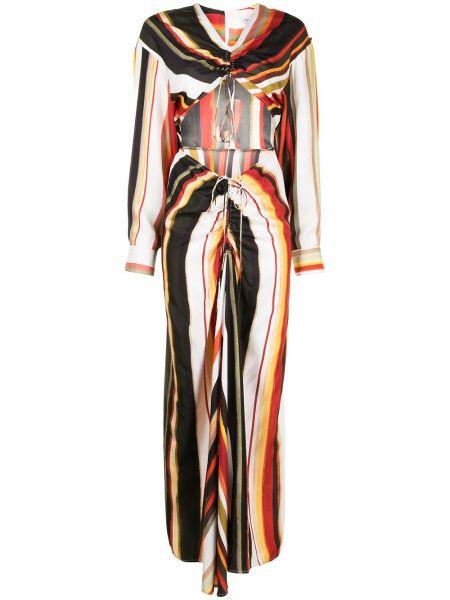 Шелковое платье макси с V-образным вырезом в полоску Christopher Esber