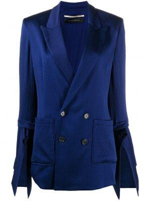 Шелковый синий классический пиджак двубортный Roland Mouret