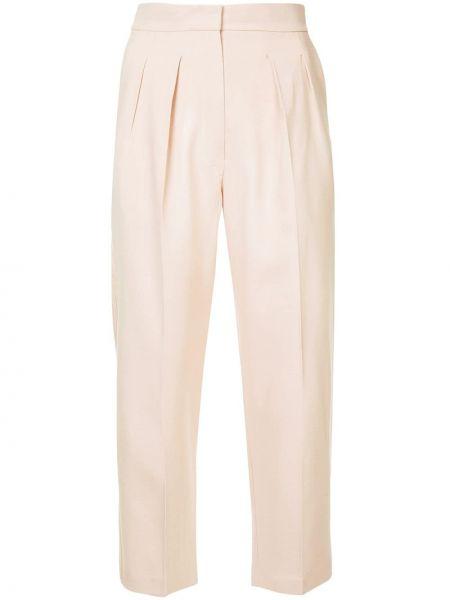 Różowe spodnie z wysokim stanem bawełniane Roksanda