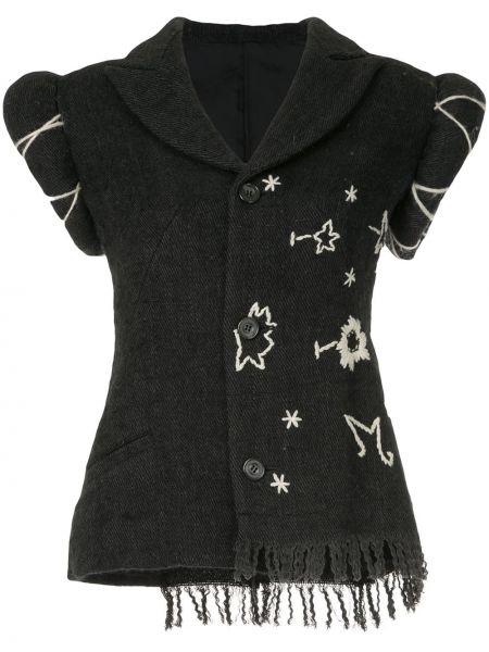 Пиджак с коротким рукавом с карманами винтажный с вышивкой на пуговицах Yohji Yamamoto Pre-owned
