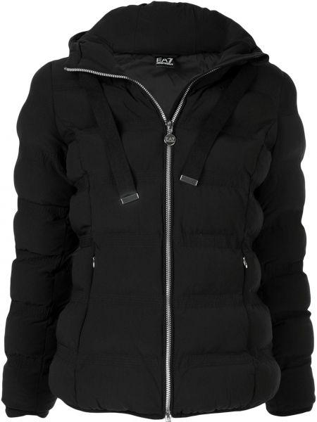 Куртка с капюшоном с карманами черная Ea7 Emporio Armani