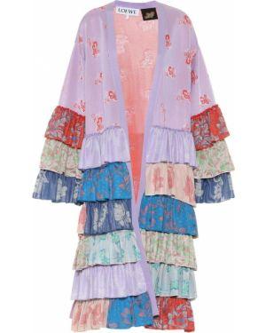 Фиолетовое пальто свободного кроя из вискозы Loewe