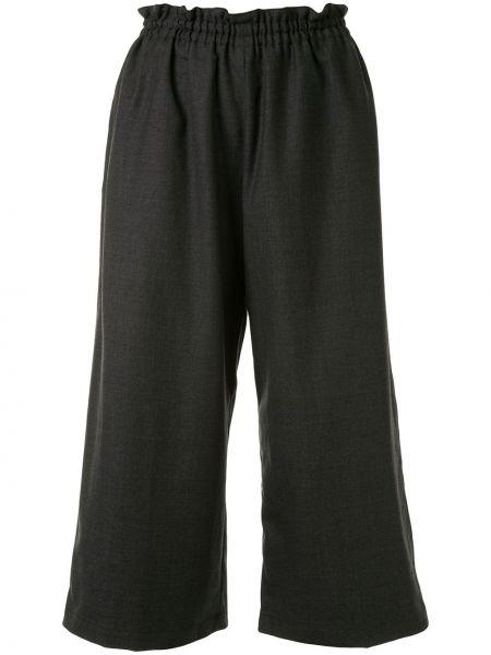 Шерстяные черные свободные брюки с поясом свободного кроя Yohji Yamamoto Pre-owned