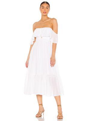 Белое платье миди с декольте с подкладкой Majorelle