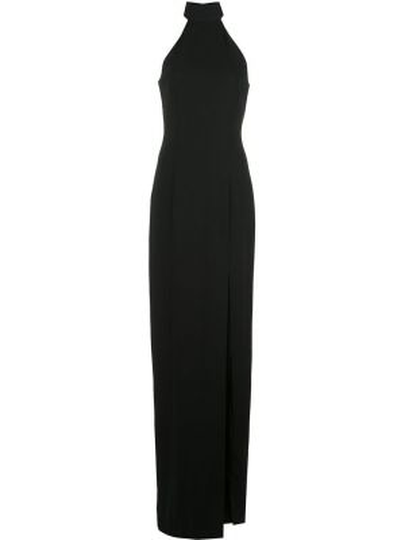 Черное открытое приталенное платье макси без рукавов Jay Godfrey