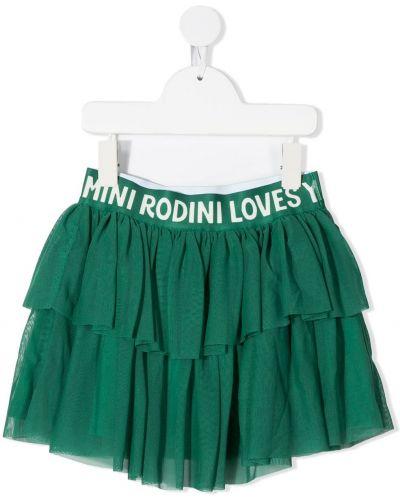 Брендовая зеленая плиссированная юбка мини Mini Rodini