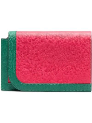 Zielony portfel srebrny Hermes