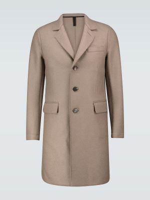 Однобортное шерстяное бежевое пальто Harris Wharf London