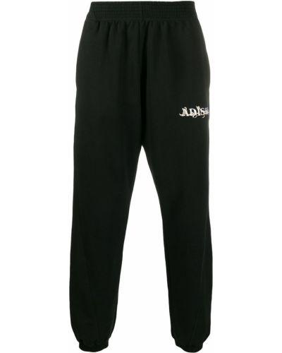 Черные спортивные брюки с поясом с манжетами Adish