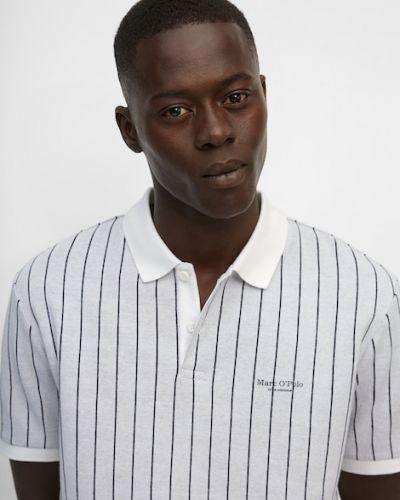 Biała koszulka prążkowana Marc O Polo