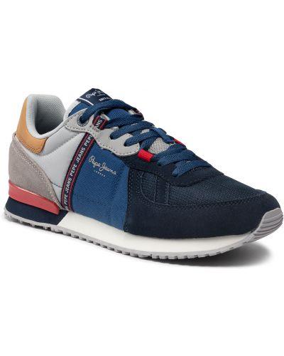 Buty sportowe skorzane - granatowe Pepe Jeans