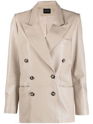 Кожаный пиджак двубортный Simonetta Ravizza