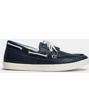 Синие кожаные деловые кроссовки на шнуровке Ralf Ringer