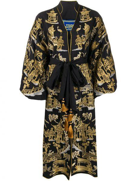 Черное платье миди с разрезами по бокам свободного кроя на молнии Yuliya Magdych