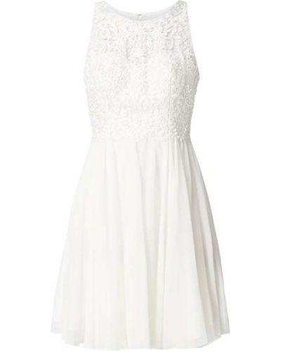 Biała sukienka koktajlowa rozkloszowana z szyfonu Laona