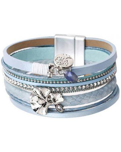Кожаный браслет с магнитной застежкой с камнями Evora