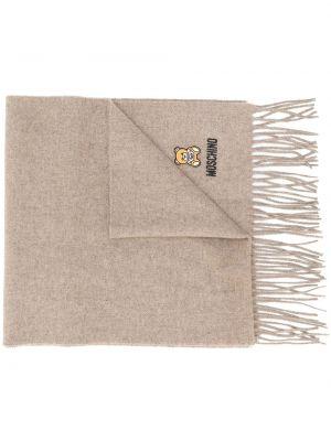 Коричневый шерстяной шарф с бахромой Moschino