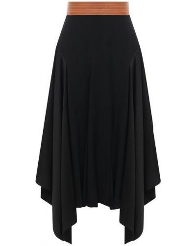 Кожаная юбка - черная Loewe