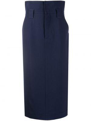 Шерстяная юбка миди - синяя Fendi