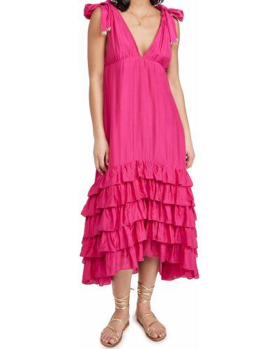 Розовое шелковое платье с оборками Sundress