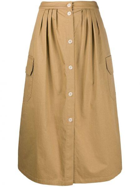 Прямая с завышенной талией юбка миди со складками в рубчик Semicouture