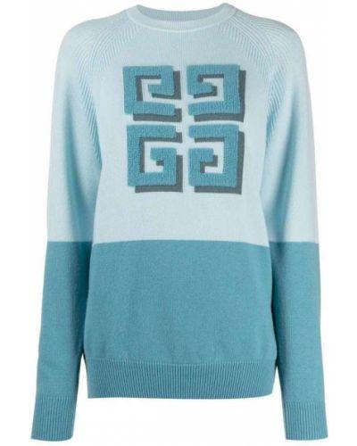 Niebieski sweter z długimi rękawami Givenchy
