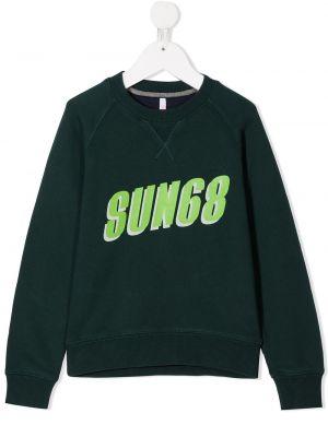 Хлопковая с рукавами зеленая толстовка Sun 68